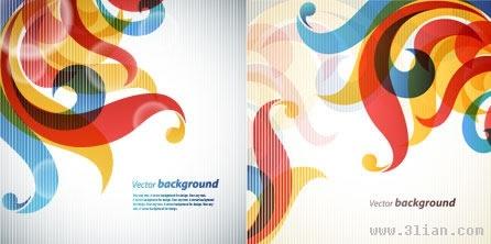 decorative background templates colorful curves ornament