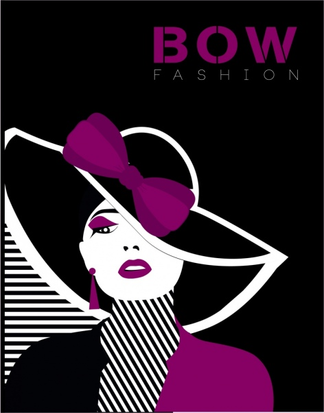fashion banner violet bow model icons dark decor