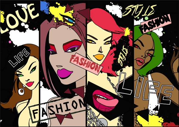 fashion banners sketch design with stylish girls