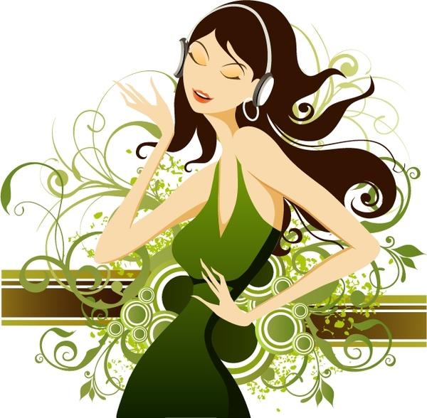 lifestyle painting fashion lady icons decorative curves decor