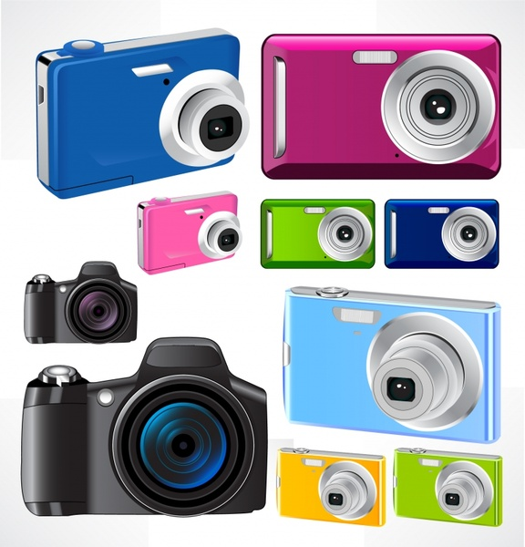 camera icons colored modern design