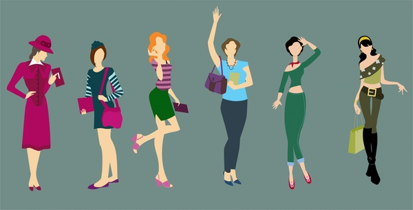 fashion concept illustration with women wearing various clothes