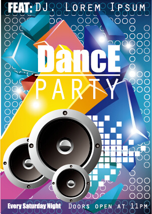 fashion dance party flyer vector free vector in encapsulated