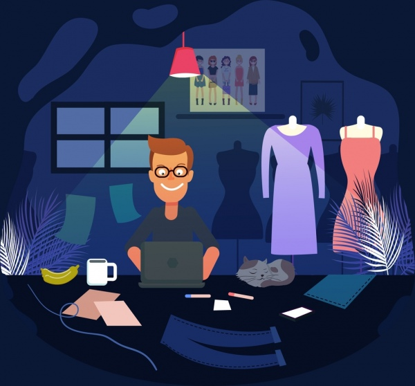 fashion design job drawing man workplace icons