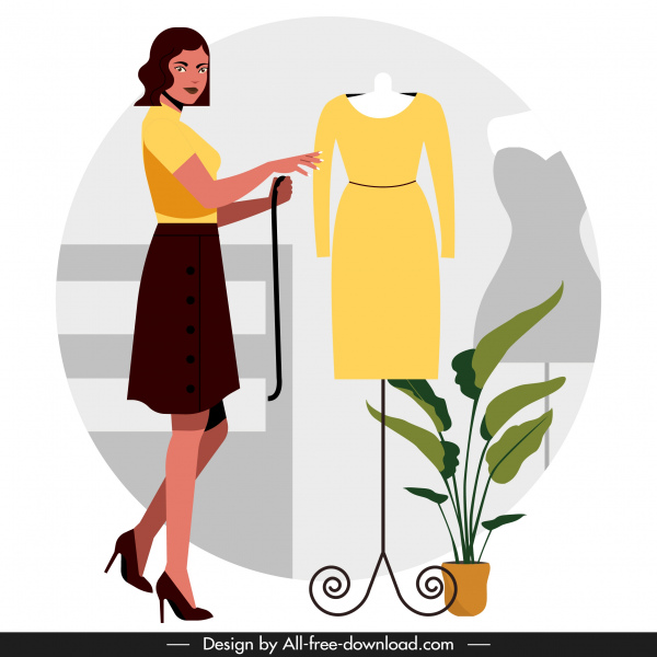 Fashion Designer Job Background Colored Cartoon Design Free Vector In Adobe Illustrator Ai Ai Format Encapsulated Postscript Eps Eps Format Format For Free Download 857 26kb