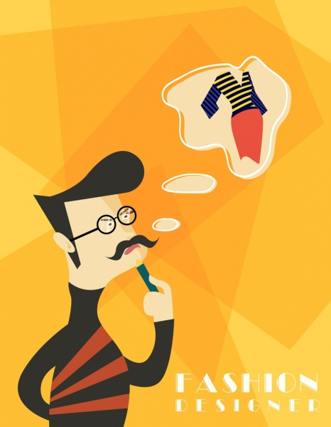 fashion designer job drawing man speech bauble icons
