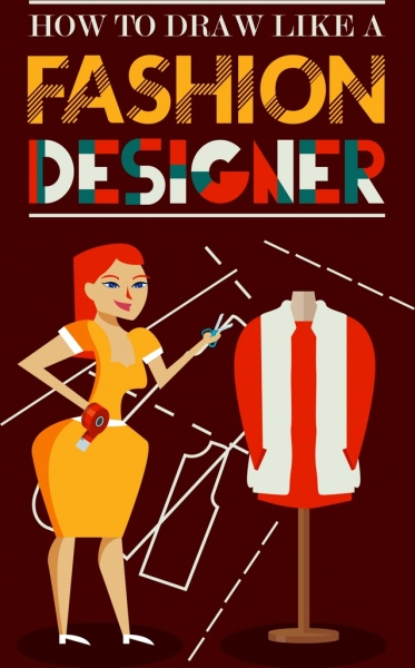 Fashion Designer Poster Woman Textile Icons Texts Decoration Free Vector In Adobe Illustrator Ai Ai Format Encapsulated Postscript Eps Eps Format Format For Free Download 1 54mb
