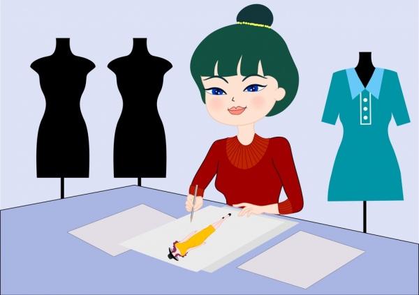 fashion designer work drawing cartoon character icon