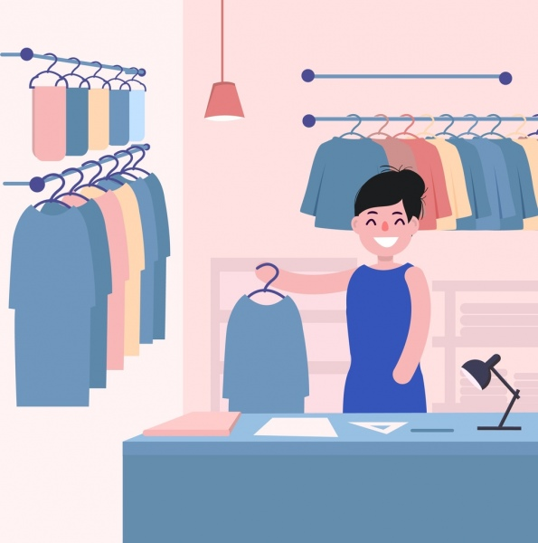 fashion designer work drawing woman clothes colored cartoon