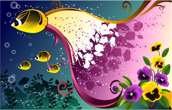 decorative background sea fishes flowers decor colorful design