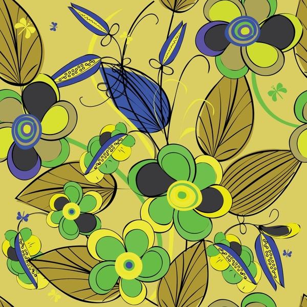 natural background colorful retro flat handdrawn decor