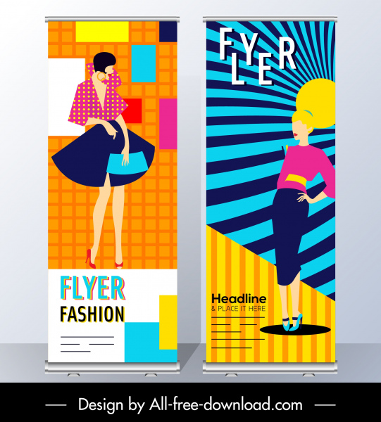 Fashion Flyer Templates Female Model Sketch Colorful Design Free Vector In Adobe Illustrator Ai Ai Format Encapsulated Postscript Eps Eps Format Format For Free Download 1 69mb