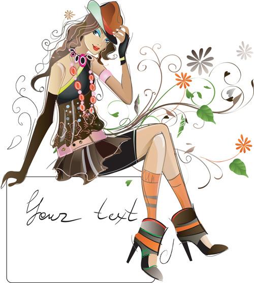 fashion girl elements vector set