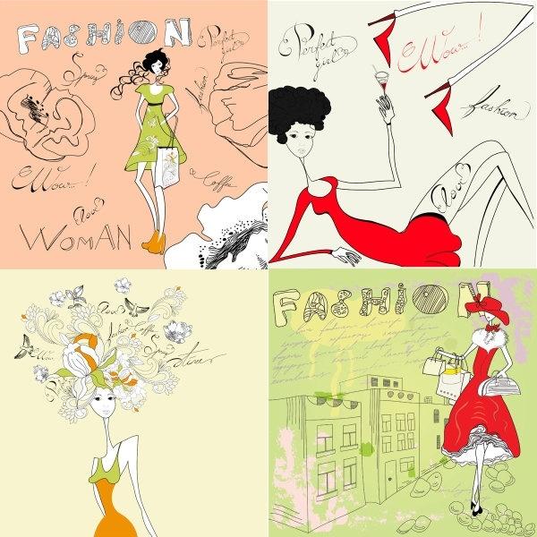 fashion girl stick figure vector