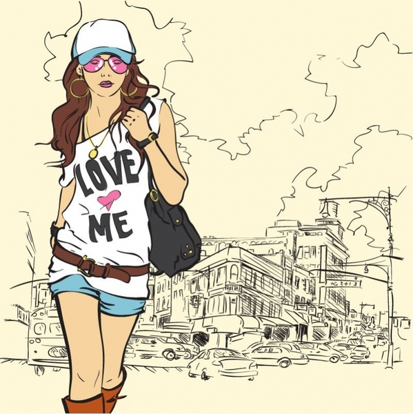 Fashion Girl Vector Illustration