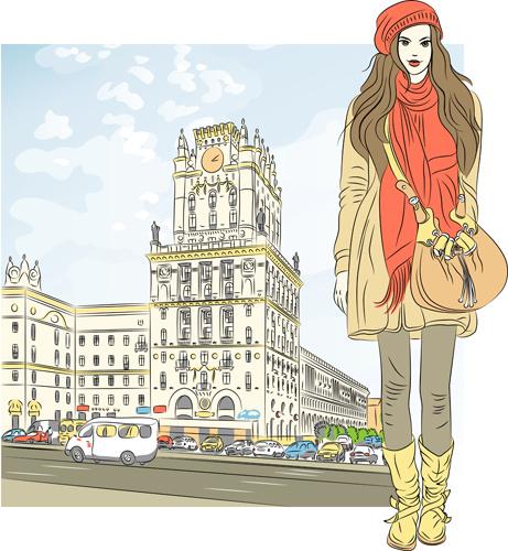 fashion girl with urban life vector
