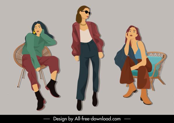 fashion girls icons cartoon characters sketch