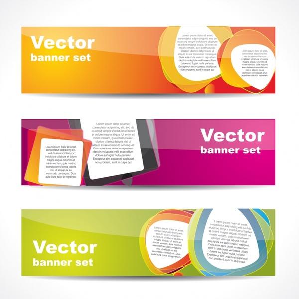 decorative banner templates colorful modern horizontal flat design