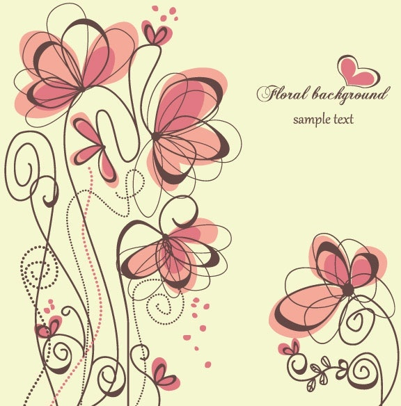 fashion handpainted flowers vector 1