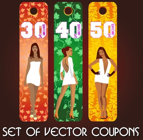 female fashion tags leaves decor modern colorful vertical