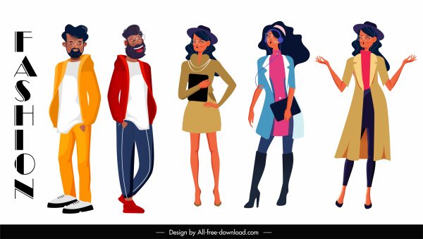 fashion model icons cartoon characters sketch