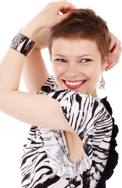 fashion model smiling