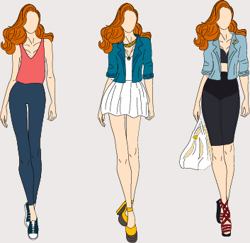 fashion models hand drawing vector free vector in