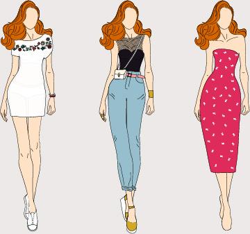 fashion models hand drawing vector