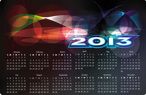 fashion of13 calendars elements vector set