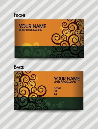 business card template dark elegant flat curves decor