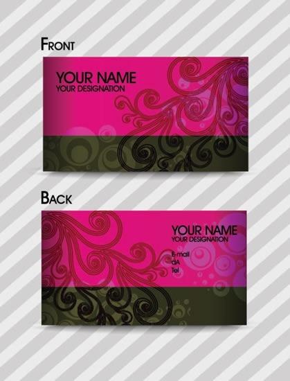 business card template dark classic swirled floral sketch