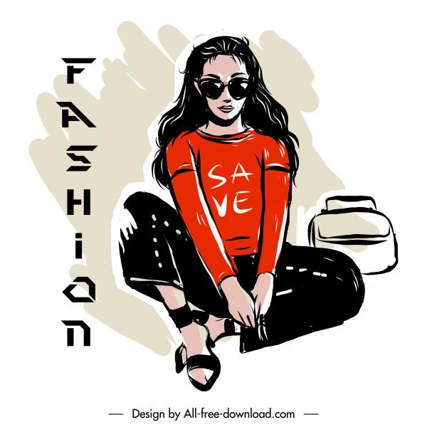 fashion poster template casual girl sketch handdrawn cartoon
