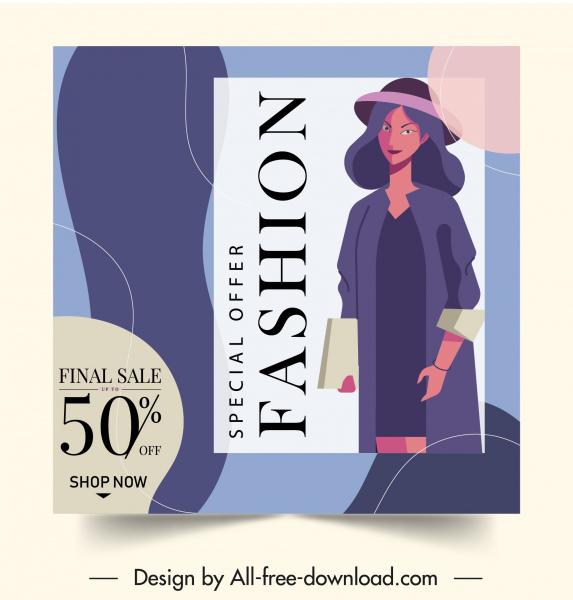 fashion sale banner colorful decor elegant woman sketch