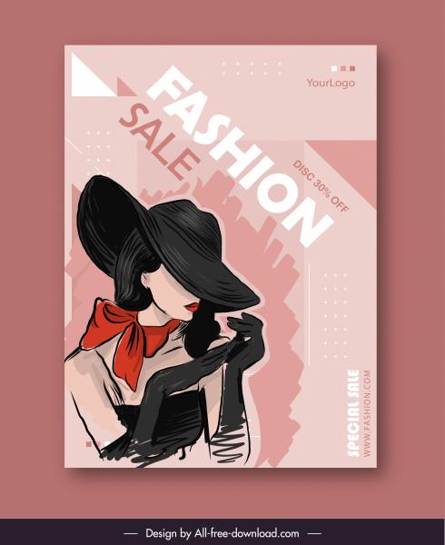 fashion sale banner elegant lady sketch handdrawn classic