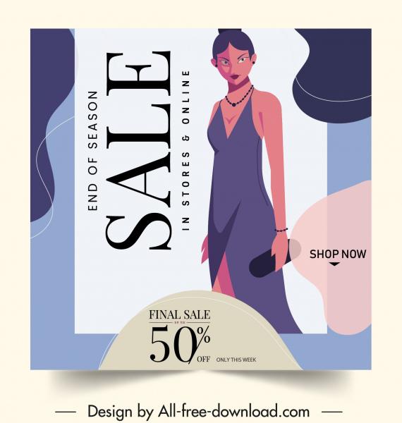 fashion sale poster elegant woman clothing sketch