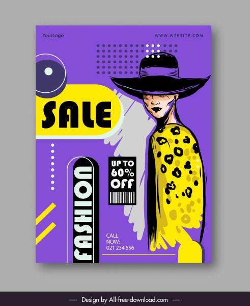 fashion sale poster handdrawn retro decor
