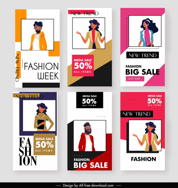 fashion sale posters models decor modern simple design