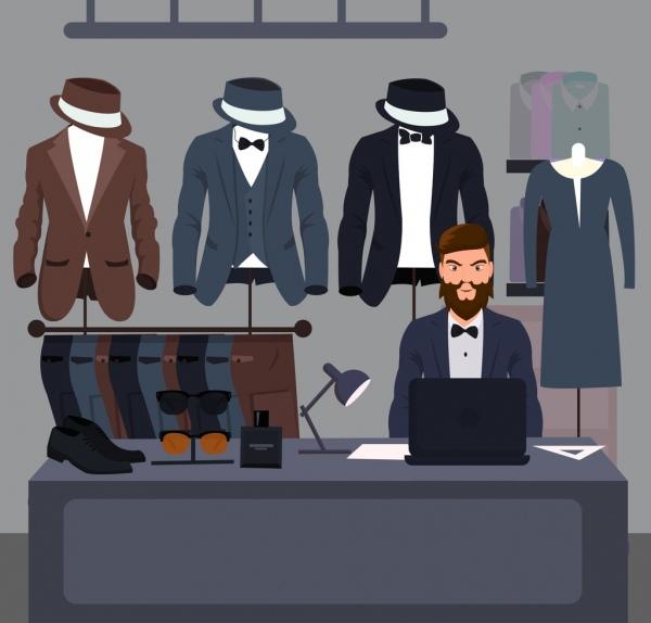 fashion shop drawing man clothes icons cartoon design