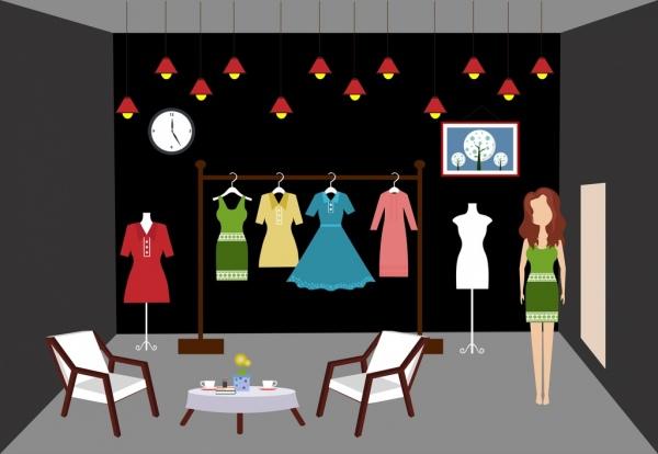 fashion shop interior design 3d colored design