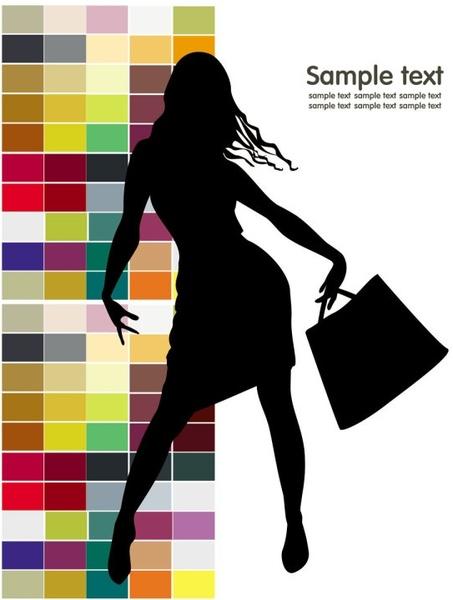 fashion shopping beauty silhouette 02 vector