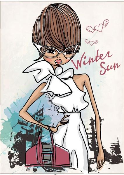 fashion shopping girl 02 vector
