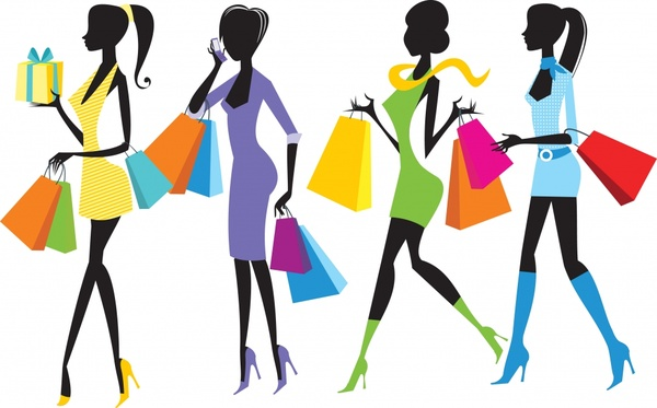 shopping girls icons colorful decor silhouettes design