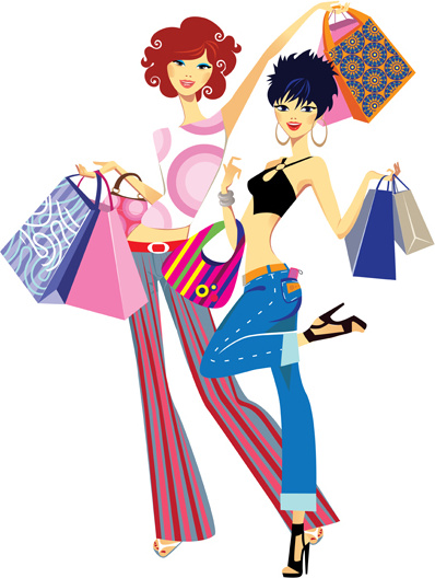 Fashion Shopping Girls Clip Art Free Vector Download 217 010 Free Vector For Commercial Use