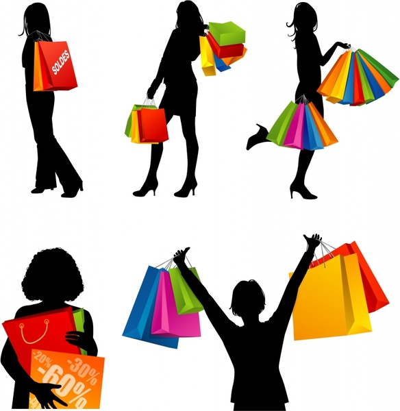 6dd2929989e Shopping woman icons silhouette design colorful bags ornament Free ...