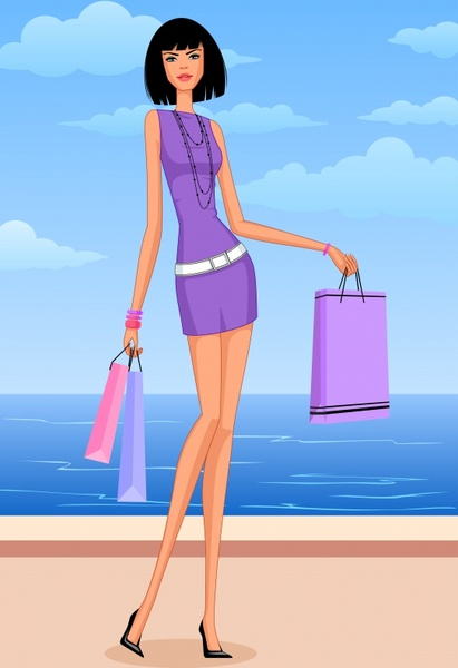 fashion background shopping girl beach icons cartoon character