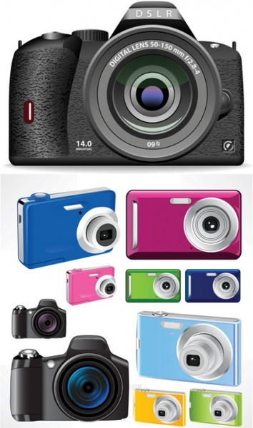 modern camera icons collection colorful realistic design