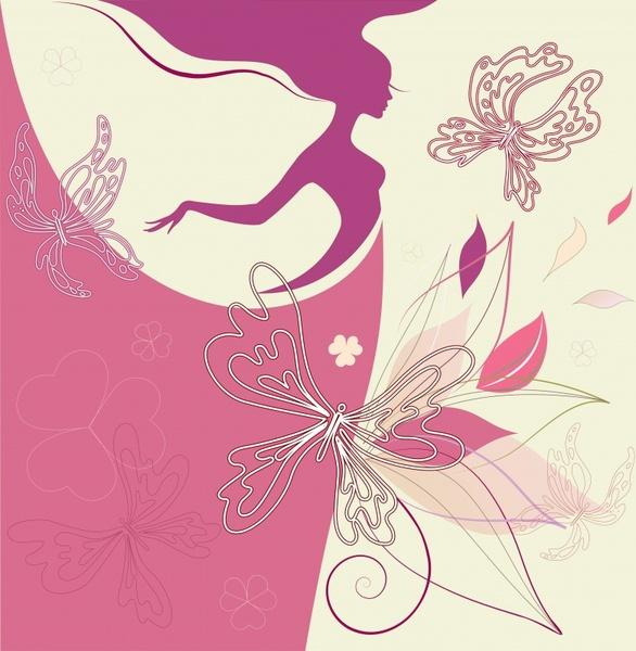 fashion background woman butterflies sketch flat silhouette design