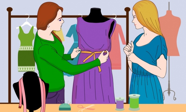 fashion work drawing designer guest icons colored cartoon