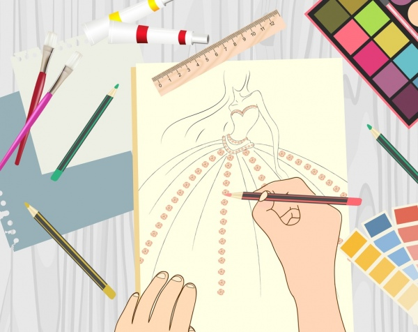 fashion work drawing pencils ruler painting icons