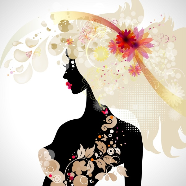 beauty background template colorful floras lady silhouette sketch